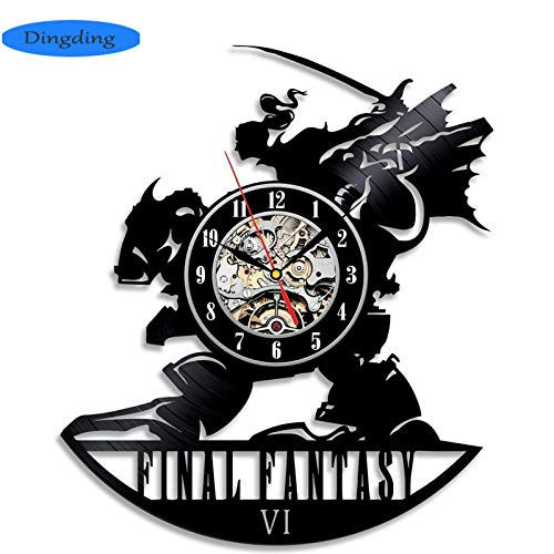 NIGHT BLACK Hot Vinyl Record CD Wanduhr Antiken Stil Final Fantasy Thema Kunst Quarz Cloc, 3Gift Für Kinder, Mann