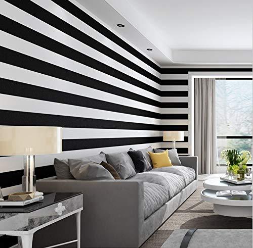 Tapete Vliestapete Wandtattoos Wandbilder Wasserdichte Einfache Moderne Wohnzimmer-Schlafzimmergeschäfts-Vereinschwarzweiss-Querstreifen