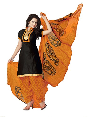 Khushali Presents Cotton Patiyala Dress Material(Black,Orange)