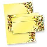 EDITION FlowerPower Briefpapier Set (25 Sets inkl. Kuverts) Das ist unsere Edition-Briefpapier, einzigartiges Briefpapier beidseitig bedruckt  in Präsentmappe geliefert