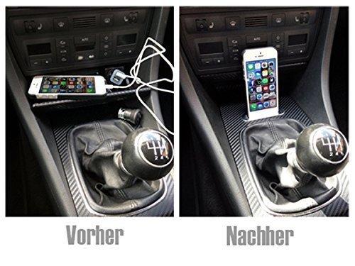 Preisvergleich Produktbild Iphone 5 & 6 Einbau Ladestation Spezialanfertigung für Audi A6 4B C5 1997-2005 A4 Allroad Dockingstation Handyhalter Iphone 5 / 5S / 5C / 6 / 6S / SE