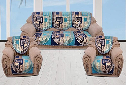 INDIA ONLINE Sofa Cover Heavy Cotton Cloth 5 Seater Set -6 Pieces- Royal & Blue (Check Design)