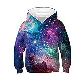 BaZhaHei Sweat-Shirt Fille Garçon pour Casual Enfant à Capuche Fantaisie 3D Galaxie Impression Hooded Sweatshirt Costume de Festival 4-13 Ans(12-13 Ans,Colore t)