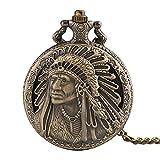 Indianer-Taschenuhr, Quarzuhrwerk, Taschenuhr, Halskette, Herren