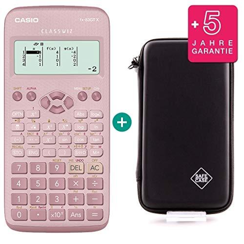 Casio FX-83GTX Pink (Nachfolger des FX 83 GT Plus) + SafeCase Schutztasche + Garantieverlängerung auf 60 Monate