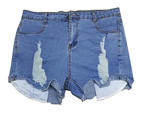 Damen Jeans-Shorts Denim Stretch Jeans Hohe Taille Skinny Distressed Kurze Jeans Hotpants L Hellblau