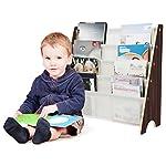 HOMFA Libreria Bambini Scaffale Porta Libri, 5 Ripiani Mensola in Legno e Tessuto Posteriore, Ecologico e Robusto 62 × 26.5 × 61cm