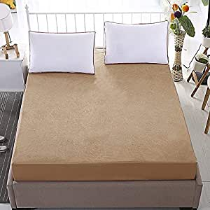 """MR BROTHERS Dust Proof and Waterproof Soft Terry Cotton Fitted Bed Cover Mattress Protector for Single Bed - Beige (36""""x78"""")"""