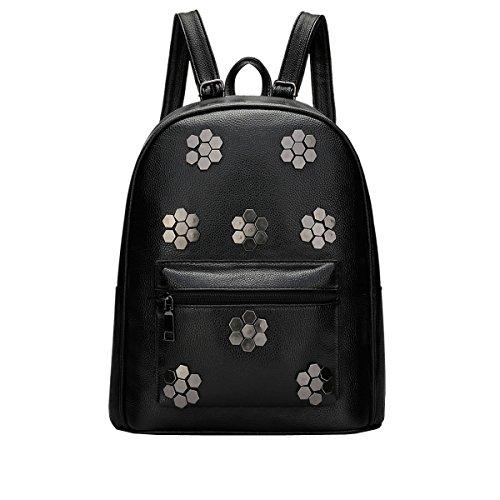 DISSA VS803 neuer Stil PU Leder Deman 2018 Mode Rucksackhandtaschen,280×140×330(mm) Schwarz