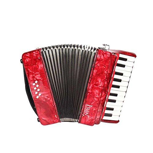 Dilwe Piano Akkordeon, Ahorn Holz 22 Key 8 Bass Keyboard Akkordeon mit Straps Handschuhe sauberes Tuch für Anfänger(Rot)