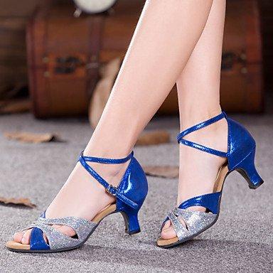 Silence @ Chaussures de danse pour femme ventre/latine/danse Sneakers/moderne/Chaussures de swing/Salsa/Sambasparkling Paillettes/paillettes/ Sliver and Blue