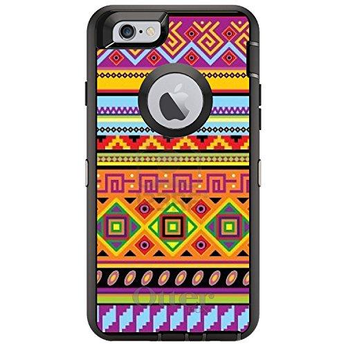 DistinctInk Fall für iPhone 6 Plus / 6S Plus-Otterbox Defender Gewohnheits-Fall Blau Orange Lila Stammes- Druck auf Schwarz-Fall - Blau 6 Otterbox-fälle Iphone
