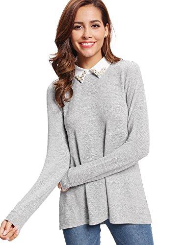 DIDK Damen Langarm Pullover Farbblock Loose Tunika Faux Twinset Elegant Bluse mit Perlen Grau XXL