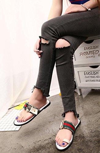 Hausschuhe weibliche flach mit flachen Sandalen lässig Metallschnalle Sandalen und Pantoffeln Khaki