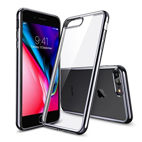 Coque iPhone 8 Plus, Coque iPhone 7 Plus Silicone, ESR Coque Transparente Silicone Gel TPU Souple, Housse Etui de Protection Bumper Premium [Anti Choc] [Ultra Fine] [Ultra Léger] [Liquid Crystal] pour transparent cadre noir