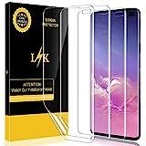 [3 Pack] LK Pellicola Protettiva per Samsung Galaxy S10 Plus, [Nuova versione] Wet Applied Clear film [Bubble-Free-Riutilizzabile] Protezione Schermo Screen Protector [Garanzia di Sostituzione a Vita]