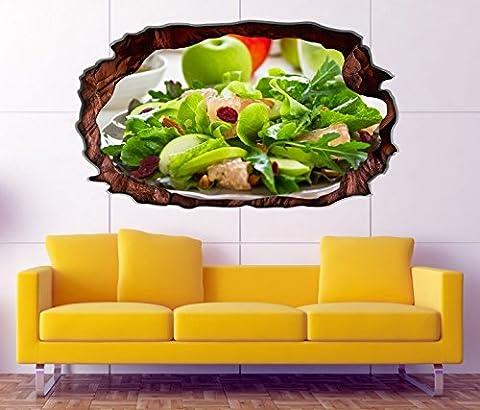 3D Wandtattoo grüner Salat Apfel gesund Diät Bild selbstklebend Wandbild sticker Wohnzimmer Wand Aufkleber 11H1379, Wandbild Größe F:ca. 162cmx97cm