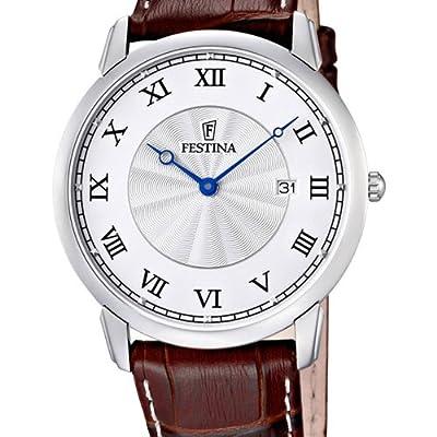 Festina F6813/5 - Reloj analógico de cuarzo para hombre con correa de piel, color marrón de Festina
