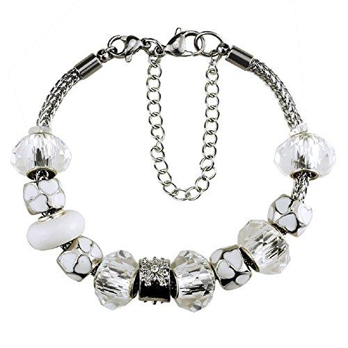 Whitebirch - braccialetti con ciondoli, con ciondoli per bracciali pandora per donne e ragazze, gioielli in cristallo, idea regalo per compleanno e placcato argento, colore: white, cod. 971012