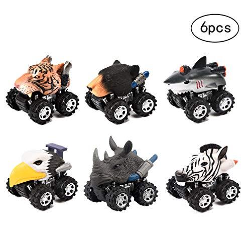Yeelan 6 stücke Zurückziehen Autos Pullback Fahrzeug Spielzeug Mini Animal Truck mit Reifen Rad Kreativität für Kinder/Kind/Kleinkind(Zebra+Tiger+Rhino+Shark+Bear+Eagle)