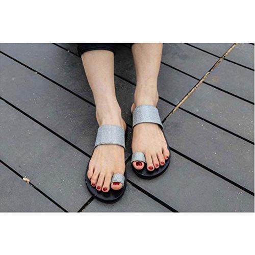 Zhuhaitf Haute qualité Ladies Summer Beach Flat Sandals 4 Colors Fashion Flip Flop Shoe silver