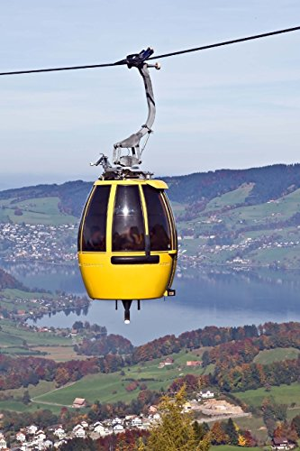 a-summer-view-of-a-yellow-cable-car-over-an-alpine-lake-sattel-switzerland-150-page-lined-notebook-d