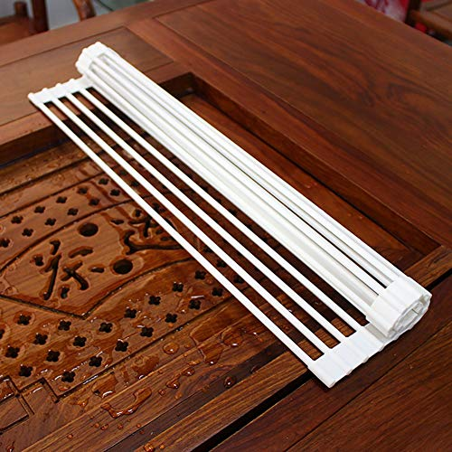 Escurreplatos de silicona enrollable para fregadero Escurridor de Cubiertos estante del plato de secado 52 x 33 x 0.6cm (Blanco)