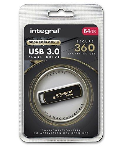 Memoria Integral INFD8GB360SEC3, 0 USB 3,0 - a forma di penna con Secure Lock Software nero/oro 64 go