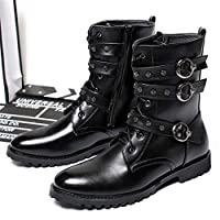 Jiahe Moto Boots for Men Fashion Zipper-up Leather Martin Shoes Vintage Flat Heel Punk Rock Metal Steam Shoes Four Seasons Cowboy Boots with Fashion buckle