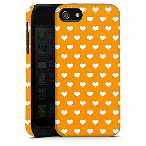 Apple iPhone X Silikon Hülle Case Schutzhülle Herzchen Muster Orange Tough Case matt