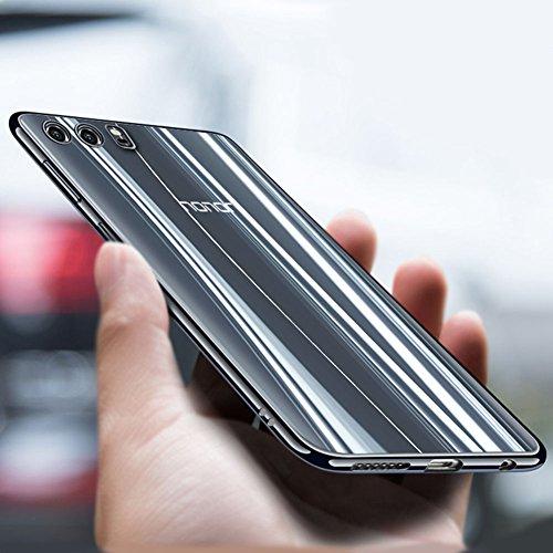 """Coque Huawei Honor 9 (5.15""""), MSVII® TPU Souple Transparent Bumper Coque Etui Housse Case et Protecteur écran Pour Huawei Honor 9 (5.15"""") - Bleu JY60063 Noir"""