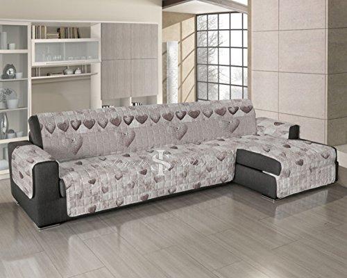 Copridivano trapuntato per divani con penisola disegno patchwork 190-195 cm beige