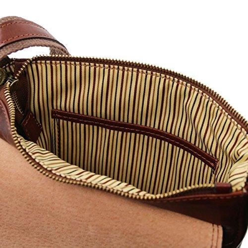 Tuscany Leather Jimmy - Borsello da uomo in pelle con tasca frontale Nero Borse uomo in pelle Nero