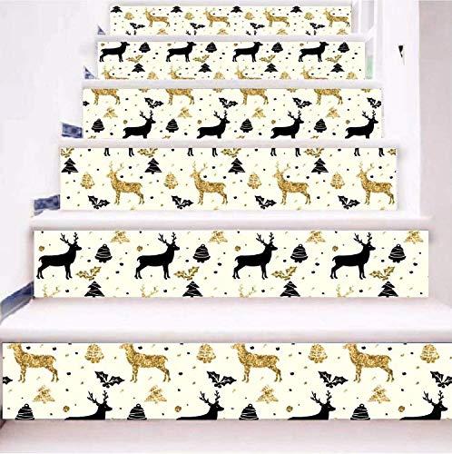 Treppenaufkleber Guten Rutsch ins Neue Jahr-Schwarz-Rotwild-goldener Rotwild-frohe Weihnacht-Treppenhaus-Aufkleber(100 * 18)13pcs