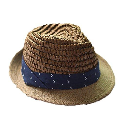 Frauen Mädchen Mode Sommer Outdoor Blauen Streifen Crimpen Jazzhut Naturstroh Sonnenhut, Braun (Mode-mädchen-hut)
