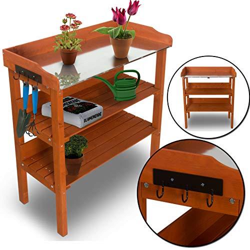 nxtbuy Table de rempotage/Jardinage avec Surface de Travail en métal galvanisé 92x76x36 cm - Table de Jardin décorative pour Pots de Fleurs en Bois imprégnée