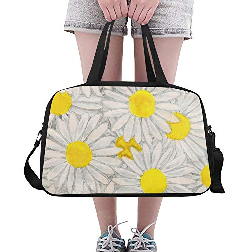 Oxeye Daisy Floral schöne Blume benutzerdefinierte große Yoga Gym Totes Fitness Handtaschen Reise Seesäcke mit Schultergurt Schuhbeutel für Übung Sport Gepäck für Mädchen Herren Damen Outdoor (Ox Eye Daisy)