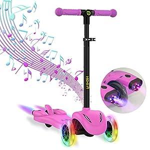 Hiboy  S51 Scooter Trotinette 3 roues enfants +3 ans, Musique et Vapeur (rose)