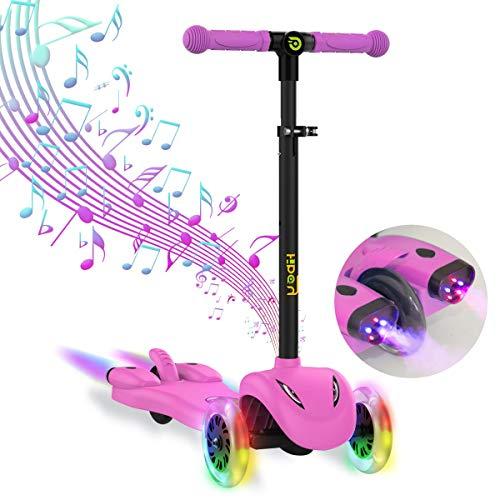 Hiboy Patinete 3 Ruedas Scooter para niños con Música y Vapor +3 Años Rosa S51