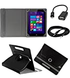 ECellStreet TM PU Leather Rotating 360° Flip Case Cover With Tablet Stand For Micromax Canvas Tablet P290 - Black + Free Aux Cable + Free OTG Cable