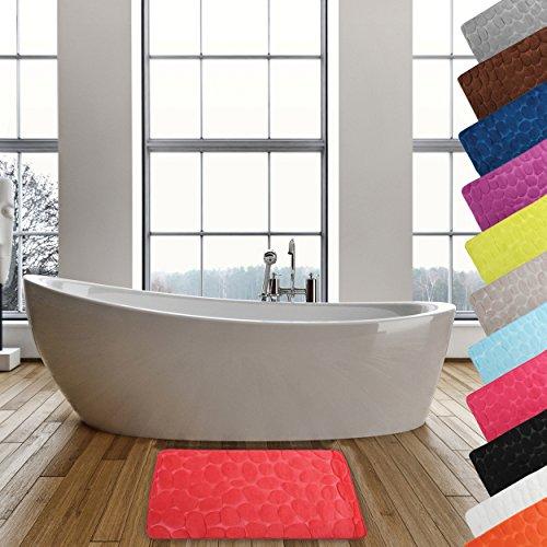 MSV Badteppich Badvorleger Duschvorleger Kieselstein Badematte waschbar, schnelltrocknend, rutschfest 50x80 cm – Rot