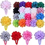 Skudgear Baby Girl's Soft Chiffon Flower Hair Clips (Multicolour) - Pack of 20