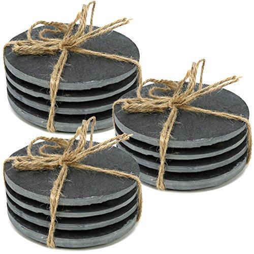 COM-FOUR® 12x Untersetzer aus Naturschiefer mit rutschfesten Gummifüßen, runde Tischuntersetzer, Ø 10 cm (12 Stück - Schiefer rund)
