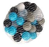 500 Bälle für Bällebad mix türkis gemischt mit grau, schwarz, weiß und transparent