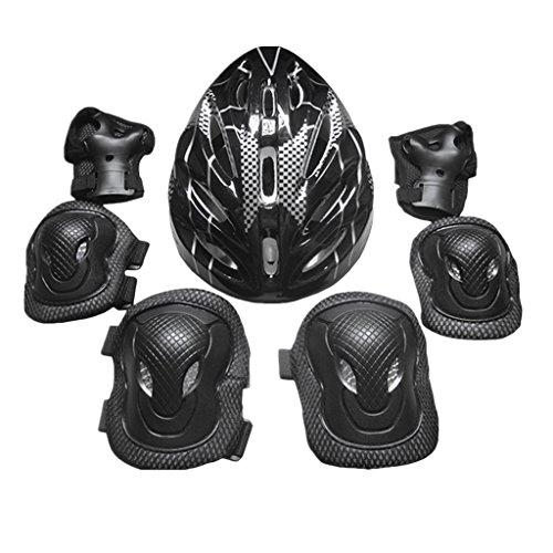 perfk 7X Erwachsene Damen und Herrn Knieschoner Ellenbogenschützer Handschützer mit Helm für Skateboarding im Freien, Longboarden, Rollschuhlaufen, Eislaufen - Schwarz