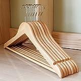 Kleiderbügel aus Holz drehbare Jackenbügel Anzugbügel Wäschebügel 10 Stk. - hell