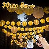 Vivibel Vivibel LED Lichterketten Lampions, Lichterkette mit Fernbedienung und Timer 30 LEDs Laternen 8 Modi Wasserdicht für Garten, Hof, Balkon, Batteriebetrieben (Warmweiß)
