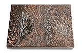 MEMORUM Grabmale Grabtafel, Grabplatte, Grabstein, Grabkissen, Urnengrabstein, Liegegrabstein Modell Pure 40 x 30 x 3-4 cm Paradiso-Granit, Poliert inkl. Gravur (Aluminium-Ornament Lilienzweig)