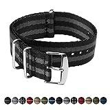 Archer Watch Straps Uhrenarmband Sicherheitsgurt Stil gewebtes Nylon Erstklassische Qualität NATO Armbänder | Militär Stil Uhrenarmband | Schwarz und Grau (James Bond)/Edelstahl Hardware, 18mm