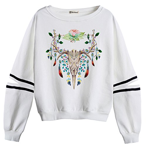 So'each Women's Deer Skull Art Pattern Stripes Casual Sweater Pullover Sweatshirt (Tiger Stripe Baumwolle Mantel)